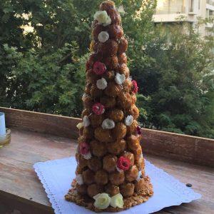Torta Croquembouche con base de Nougatine